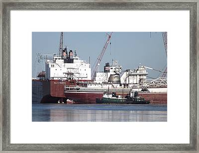 Ships In Harbor Framed Print