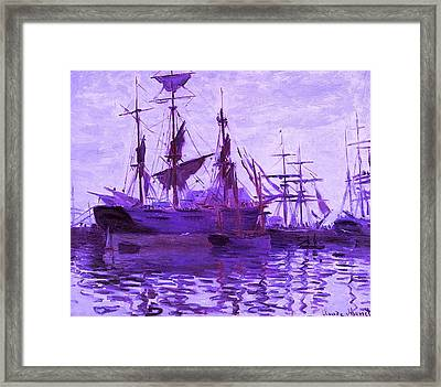 Ships In Harbor Enhanced Violet IIi  Framed Print by Claude Monet - L Brown