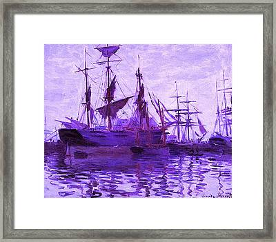 Ships In Harbor Enhanced Violet IIi Upsized Framed Print by Claude Monet - L Brown