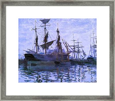 Ships In Harbor Enhanced Xi Framed Print by Claude Monet - L Brown
