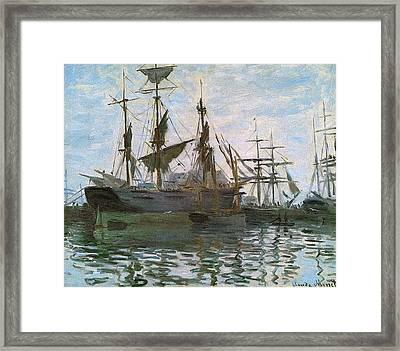 Ships In Harbor Upsized And Enhanced Framed Print by Claude Monet - L Brown