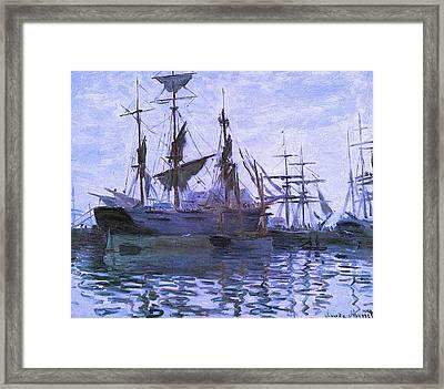Ships In Harbor Upsized Enhanced II Framed Print by Claude Monet - L Brown