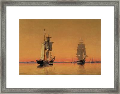 Ships In The Boston Harbor At Twilight Framed Print