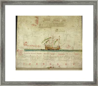 Ships In The King's Navy Fleet From 1546 Framed Print by British Library