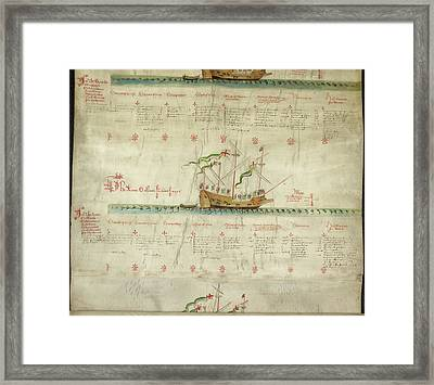 Ships In The King's Navy Fleet From 1547 Framed Print by British Library