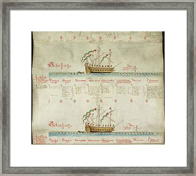 Ships In The King's Navy Fleet From 1548 Framed Print by British Library