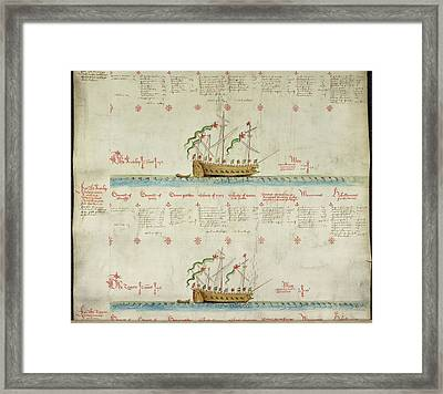 Ships In The King's Navy Fleet From 1549 Framed Print by British Library