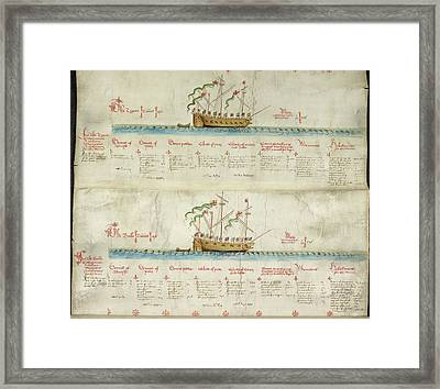 Ships In The King's Navy Fleet From 1550 Framed Print by British Library
