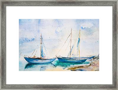 Ships In The Sea Framed Print