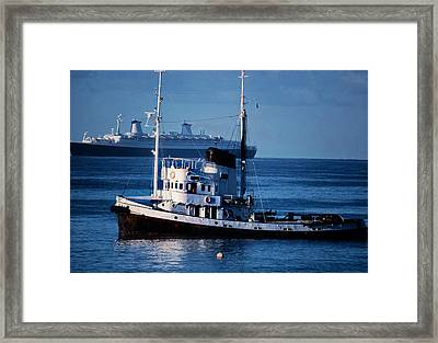 Ships In The Sea, Usa Framed Print