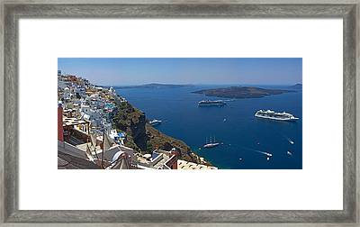 Ships In The Sea Viewed From A Town Framed Print