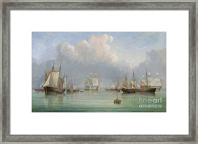 Ships Off Ryde Framed Print by Arthur Wellington Fowles