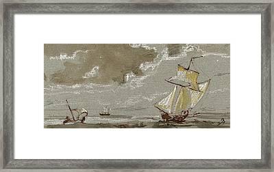 Ships On Storm Framed Print by Juan  Bosco