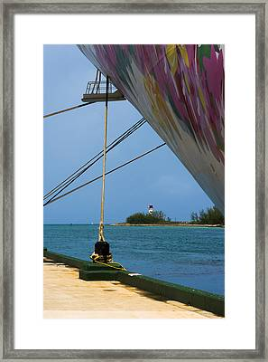 Ship's Ropes And Lighthouse Framed Print
