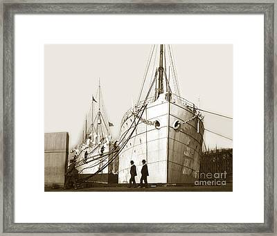 Framed Print featuring the photograph Steam Ships San Francisco California   Circa 1900 Historical Photo by California Views Mr Pat Hathaway Archives