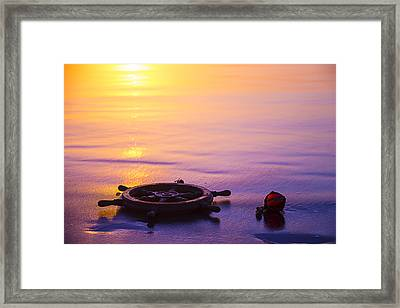 Ships Wheel And Fishing Float Framed Print by Garry Gay