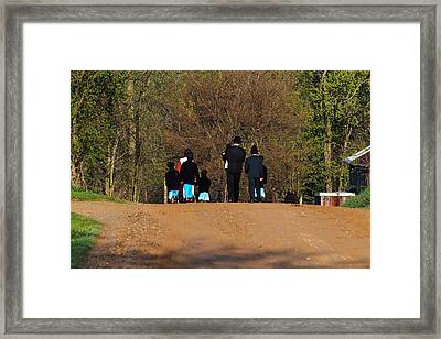 Shipshewanna Amish Family On Their Way To Church Framed Print by Jay Dreifus