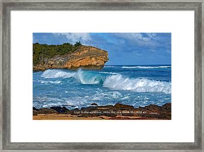 Shipwreck Beach Shorebreaks 1 Framed Print by Marie Hicks