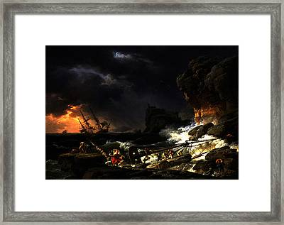 Framed Print featuring the digital art Shipwreck In A Thunderstorm by Joseph Vernet