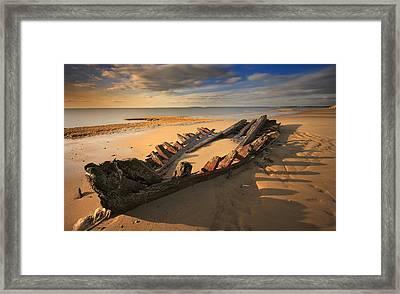 Shipwreck On Cape Cod Beach Framed Print by Dapixara Art