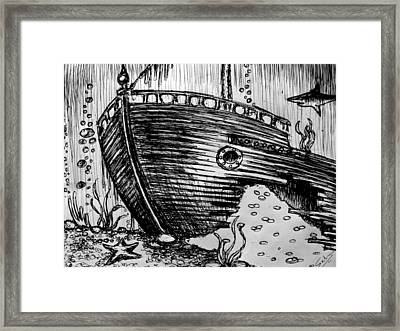 Framed Print featuring the painting Shipwreck by Salman Ravish