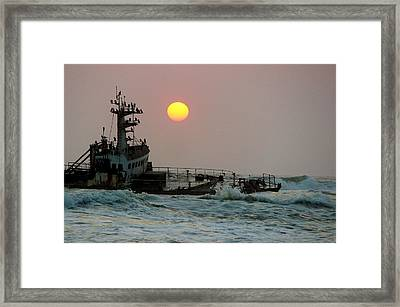 Shipwreck Sunset Framed Print