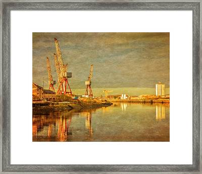Shipyard On The River Clyde In Scotland Framed Print by Tylie Duff