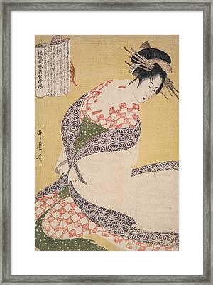Shira-uchikake = The White Surcoat, Kitagawa Framed Print by Artokoloro