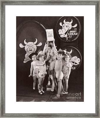 Shirley Temple And Gang - Sepia Framed Print by MMG Archives