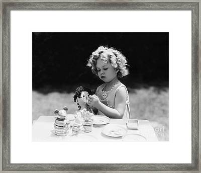 Shirley Temple Tea Party With Doll Framed Print by MMG Archives