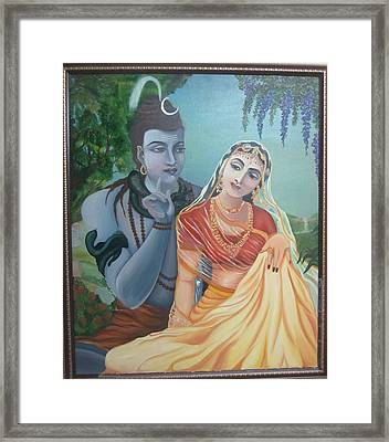 Shiv And Parvati Framed Print by Alka  Malik