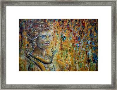 Framed Print featuring the painting Shiva 2 - Close by Nik Helbig