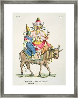 Shiva And Parvati, Engraved By De Marlet Framed Print by A. Geringer