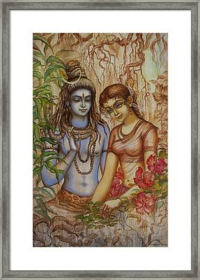 Shiva And Parvati Framed Print by Vrindavan Das