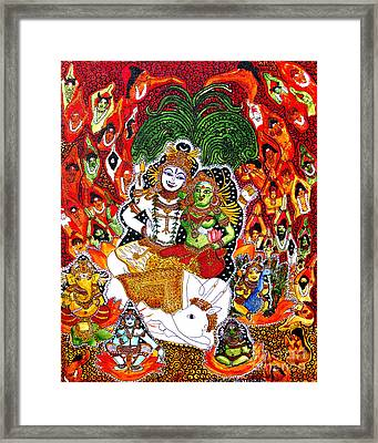 Framed Print featuring the painting Shiva Kudumba by Saranya Haridasan