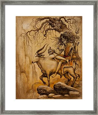 Shiva On Nandi Bull Framed Print by Vrindavan Das