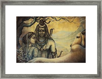 Shiva Parvati . Spring In Himalayas Framed Print by Vrindavan Das