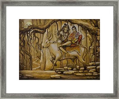 Shiva Parvati Ganesha Framed Print by Vrindavan Das