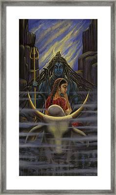 Shiva Parvati. Night In Himalayas Framed Print by Vrindavan Das