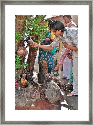 Morning Offerings At A Shiva Temple - India Framed Print