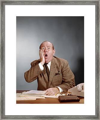 Shocked Looking Balding Executive Framed Print