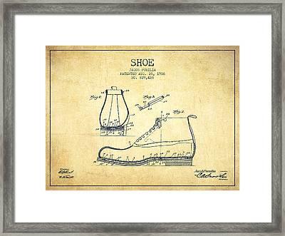 Shoe Patent From 1906 - Vintage Framed Print