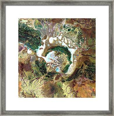 Shoemaker Crater Framed Print by Nasa/gsfc/meti/japan Space Systems And U.s./japan Aster Science Team