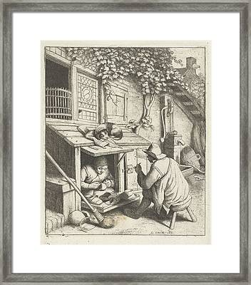 Shoemaker In Store For His House And A Customer Framed Print by Adriaen Van Ostade