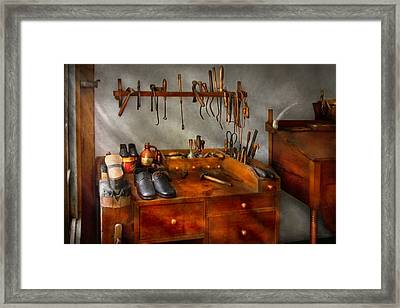 Shoemaker - The Cobblers Shop Framed Print by Mike Savad