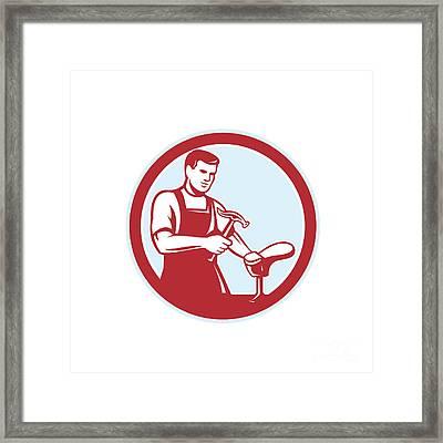 Shoemaker With Hammer Shoe Circle Retro Framed Print