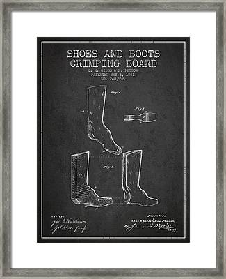 Shoes And Boots Crimping Board Patent From 1881 - Charcoal Framed Print by Aged Pixel