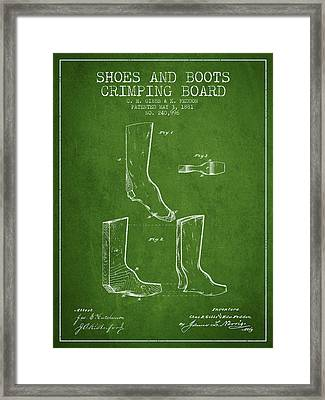 Shoes And Boots Crimping Board Patent From 1881 - Green Framed Print by Aged Pixel