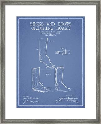 Shoes And Boots Crimping Board Patent From 1881 - Light Blue Framed Print by Aged Pixel