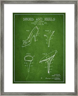 Shoes And Heels Patent From 1958 - Green Framed Print by Aged Pixel